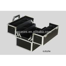 caixa de ferramentas de alumínio forte 2014 com 4 bandejas plásticas & compartimentos ajustáveis na parte inferior caso