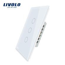 Livolo Стандарт США 3 банды 1 способ питания настенный сенсорный выключатель света 110 ~ 220 В VL-C503-11