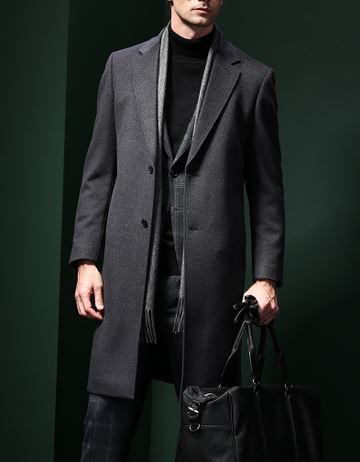 Men's pure cashmere overcoat -5