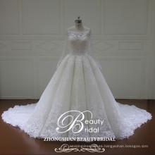 Shimmering barco de calidad superior largo sleeeve vestido de boda vestido de bola