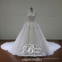 Vestido de noiva de vestido de bola longo sleeeve de qualidade superior