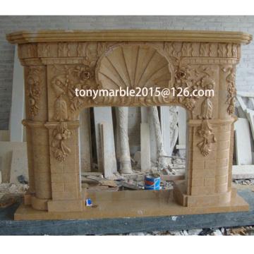 Bege pedra esculpida mármore lareira surround (SY-MF007)