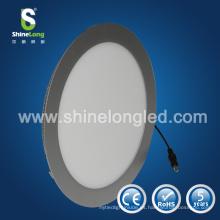 Ajuste de plata / blanco 10w 12w 15w 18w 20w borde redondo panel led
