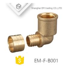 EM-F-B001 Hilo y rosca hembra de latón de 90 grados Ajuste de codo de diente circular