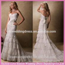 WD1288 Cuello de la cintura hecha a mano de la cintura del amor de la cintura desprendible del corsé de la falda del cordón de la falda del cordón de los vestidos de boda de la capilla