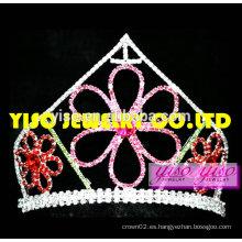 Tiara cristalina hermosa de la flor de las cajas fuertes de la corona de la venta