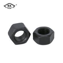 Tuerca hexagonal de acero al carbono con acabado negro Din934