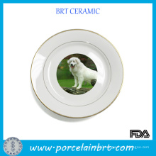 Delicate Decorative Ceramic Plate with Dog Pattern