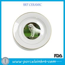 Нежные декоративные керамические пластины с рисунком собаки