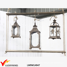 3 Glass Windows Wood Vintage Candle Hanging Lantern