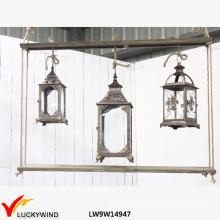 3 janelas de vidro madeira velas vintage pendurado lanterna