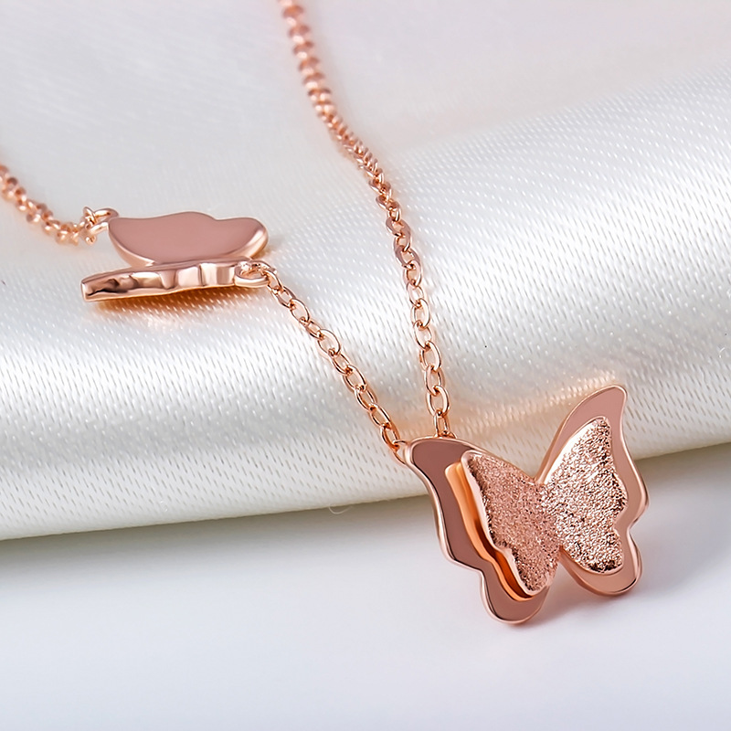 Custom Jewelry Rose Gold Plated Butterfly Necklace
