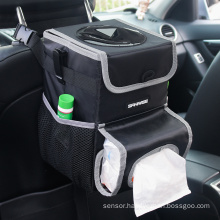 2020 new design car seat organizer with lid and storage, car dust bin car garbage can