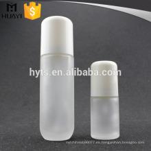 blanco al por mayor botella de loción de cuerpo de vidrio redondo vacío