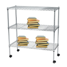 Chrome Movable DIY Metal Wire Book Storage Cart (LD753590A3CW)