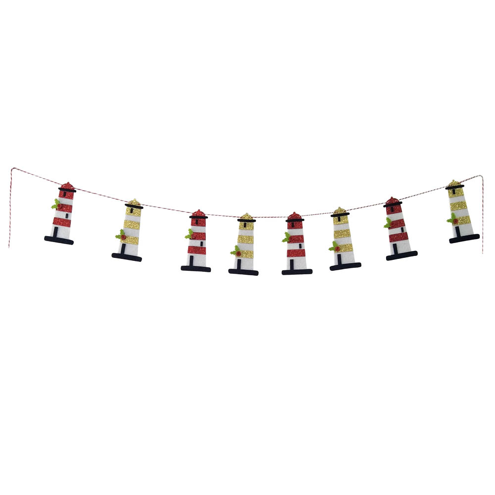 Christmas Lighthouse Bunting Banner