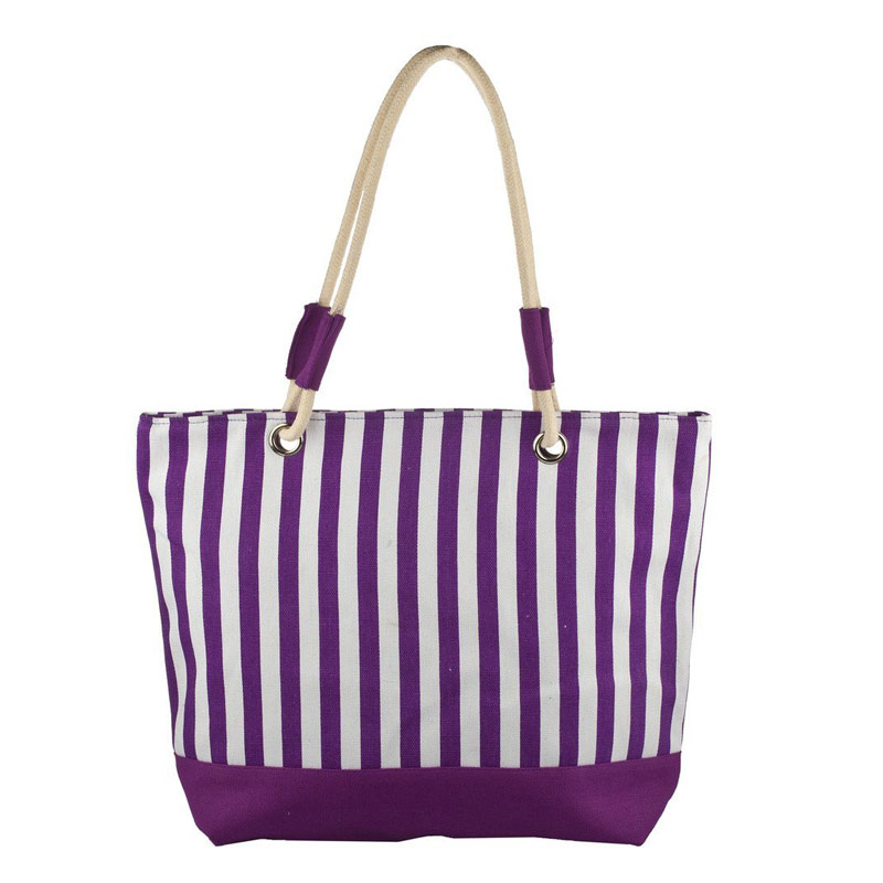Purple Stripes Beach Bag