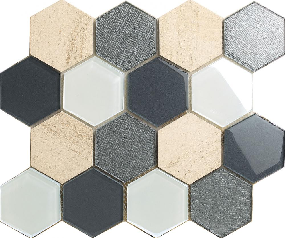 73x73mm Hexagon Marble Glass Mixed Mosaic