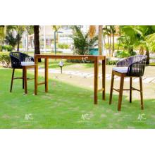 Top vendiendo Resin Rattan Bar Set acacia marco de madera para uso al aire libre Muebles de mimbre