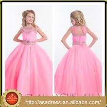 ARC-11 Pretty Pink vestido de niña de flor de longitud de la manga del casquillo de Tulle Hand-Beaded ojo de la cerradura Volver Vestidos para niñas