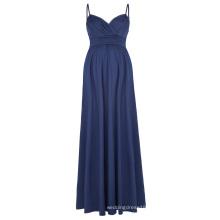 Kate Kasin Sexy Womens Comfortable Spaghetti Straps V-Neck Navy Maxi Maternity Dress KK000674-3