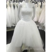 Die neuesten Design Einfache trägerlosen Tüll Rock Low Back kurze vorne lange Rücken Brautkleider 1512116