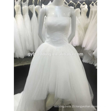 The Latest Design Simple Strapless Tulle Skirt Low Back Short Front Long Back Wedding Dresses 1512116