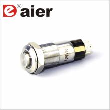 Botón pulsador iluminado del metal del alto botón del anillo de 10m m