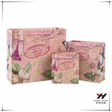 2018 gros logo personnalisé bricolage imprimé délicat sac de papier recyclé sac à provisions