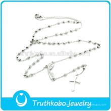 TKB-N0014 Nueva Llegada joyería de las mujeres delgadas Madonna cruz cuentas de rosario colgantes de plata collar de moda de acero inoxidable 316L