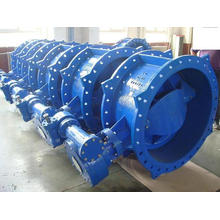 BS5155 Double Eccentric Double Flange Butterfly Valve, with Gearbox, Series13/14, DIN3202 F4, Pn10/ Pn16/ Pn25