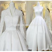 Vestido de novia de satén de tren largo con la chaqueta de encaje 2016 Vestido de bola sin tirantes blanco nuevo de la boda
