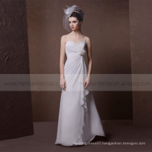 Beautiful Pleated Beads Heart Line Mermaid Lace Applique Satin Wedding Dress