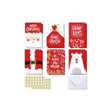 48 Конверты Наклейки для подарочной коробки Зимние праздничные открытки 6 дизайнов, Белый медведь, Рождественские открытки Санта Клауса