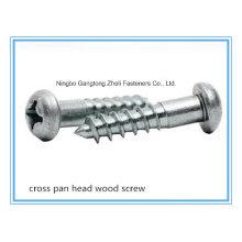 (Aço inoxidável / aço carbono) entalhado / cruz / Philip Pan / parafuso de madeira cabeça chata