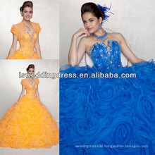 HQ2043 Notched neck with sleeveless beading organza pleated flower skirt corset royal blue quinceanera dresses ball gown