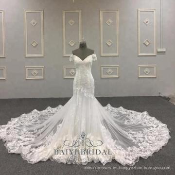 Vestido de novia de sirena sexy realmente muestra