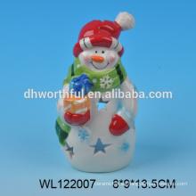2016 fábrica directamente nueva decoración de cerámica de Navidad de la estatuilla de muñeco de nieve