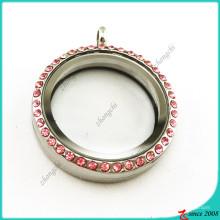 Medalhão de flutuação de vidro rodada rosa Crsytal 30 milímetros (FL16041937)