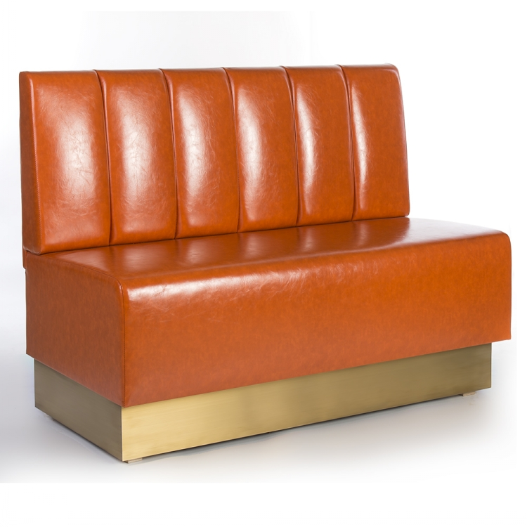 Classic Leather Wood Nightclub Restaurant Seating Booth Sofa