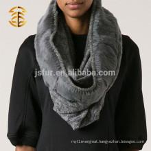 Wholesale men's fashion quality grey handmade wool rabbit fur scarf