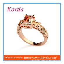 Nouveaux produits 2016 fashion 18k rose or jaune topaz anneaux bijoux