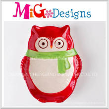 Plaque de conception de hibou en céramique de cadeau de Noël de vente directe d'usine