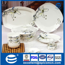 86pcs new bone china square dinnerware set with Magnolia printing