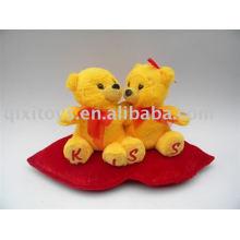 plush valentine kissing teddy bear with heart