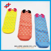 Hot-sale children cartoon tube socks/dots design foot socks bowknot tube socks