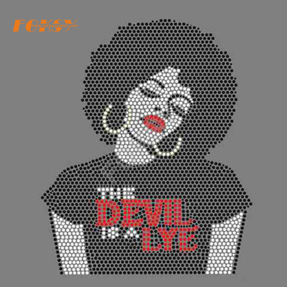AFM17-07-2503 Afro girl rhinestone transfer