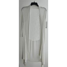 Largo de manga larga Opean Patterned punto chaqueta para las damas