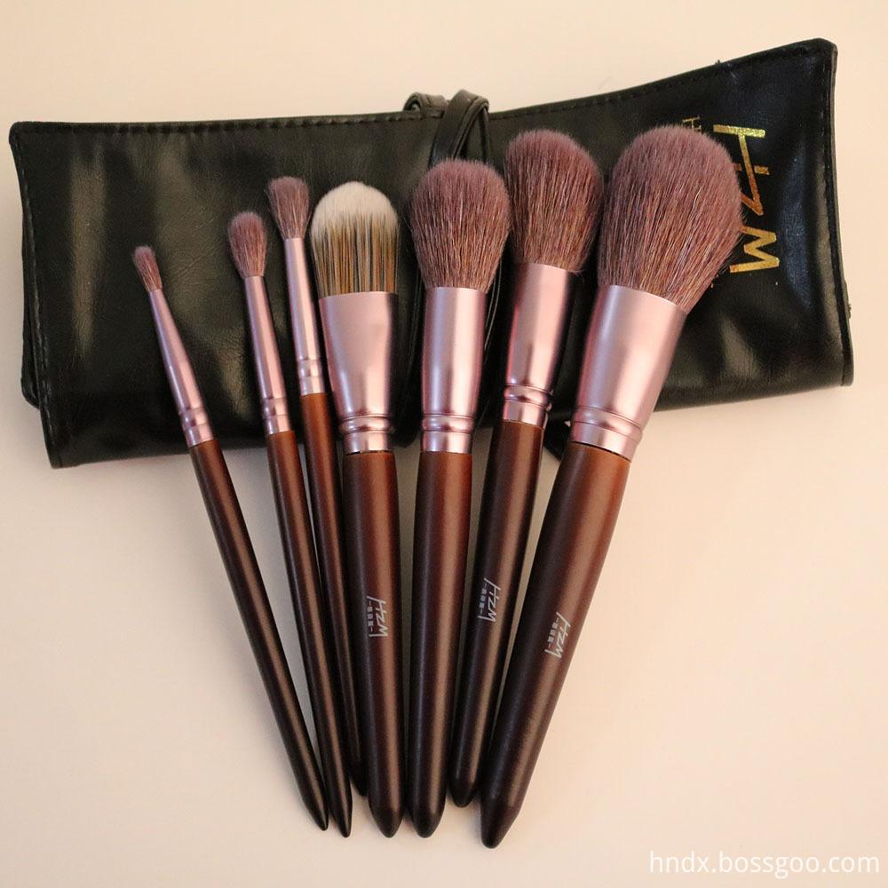 7PCS Goat Hair Wood Handle Makeup Brush 7