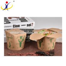Boîte biodégradable adaptée aux besoins du client de nouille de pâtes de logo, boîte de papier ronde pour l'emballage alimentaire